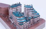 Model of a blue building