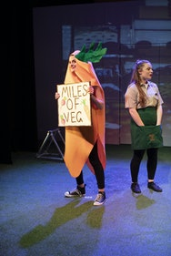 Students acting in a production of Love and Information