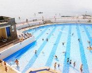 people swimming in lido