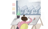 Illustration of a girl drawing on a desk next to a window