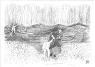 Pencil sketch of a women holding a child's hand as they walk through a field