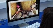 Student using Adobe to edit photographs