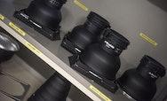 Photography camera equipment on a shelf