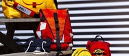 Yellow and red RNLI bags made by BA (Hons) Fashion students