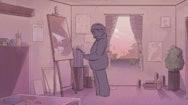 cartoon illustration of man drawing on canvas