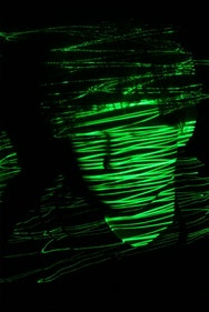 face in green light