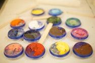 Different coloured face paints