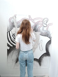 Student working on a art project