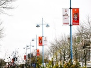 The banners Jack designed on Wembley Way