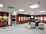 Southampton FC dressing room at Wembley Stadium.