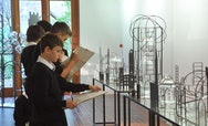 School students admiring a sculpture at a TheGallery School Workshop