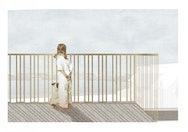 Girl and dog on balcony