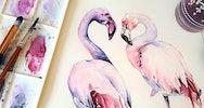 Watercolour of two flamingo's