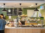 Image of Starbucks counter displaying pastries