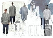 Diagrams and illustrations of male apparel tech flats