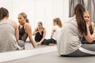 Students dancing in AUB's dance studio