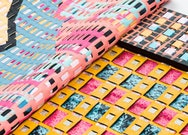 Close up photo of a heavily patterned weaved material