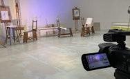 Dancers filming in drawing studio