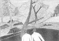Pencil sketch of a landscape