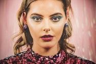 Portrait of girl with blye eye make up