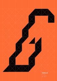 Modular black and orange poster