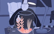 Illustration of person looking in fish bowl.