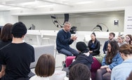 Alumni Wolfgang Tillmans giving a lecture to students to Commercial Photography Students