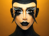 Yellow and black make-up on model