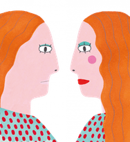 drawing of 2 girls facing each other