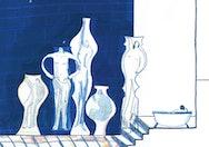 Blue illustration of people