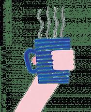 Blue mug of tea