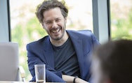 Alumni Edgar Wright laughing during an interview