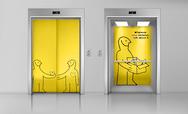 Graphics on lift door