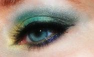 Close up photograph of make-up around an eye
