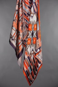 orange silk print scarf