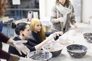 Make-up students working within the studio