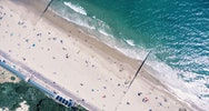 Top down view of Bournemouth beach