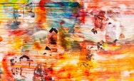 Abstract artwork with orange, red, blue and white paint