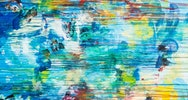 Abstract artwork created with blue and yellow paint