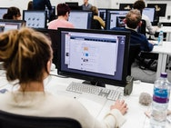 Students working in our computer room facility