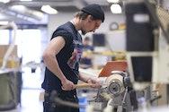 Man cutting in the studio