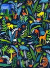 Vibrant graphic image of zoo animals and different shaped leaves