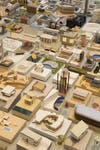 Flat lay of architectural models of buildings