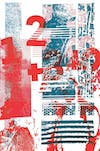 Screen print using red and black abstract shapes and numbers