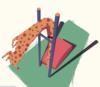 Illustration of a giraffe doing a high jump