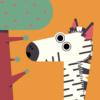 Illustration of a zebra stood next to a tree